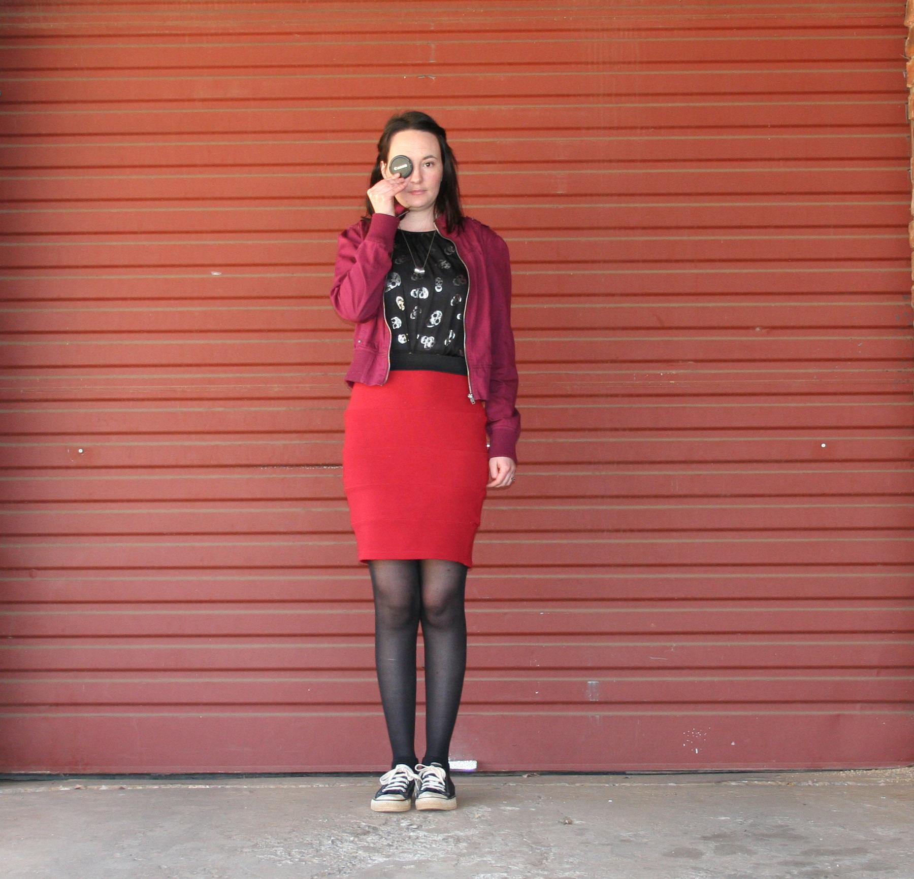 skulls, dress, red, skirt, magenta, jacket, converse