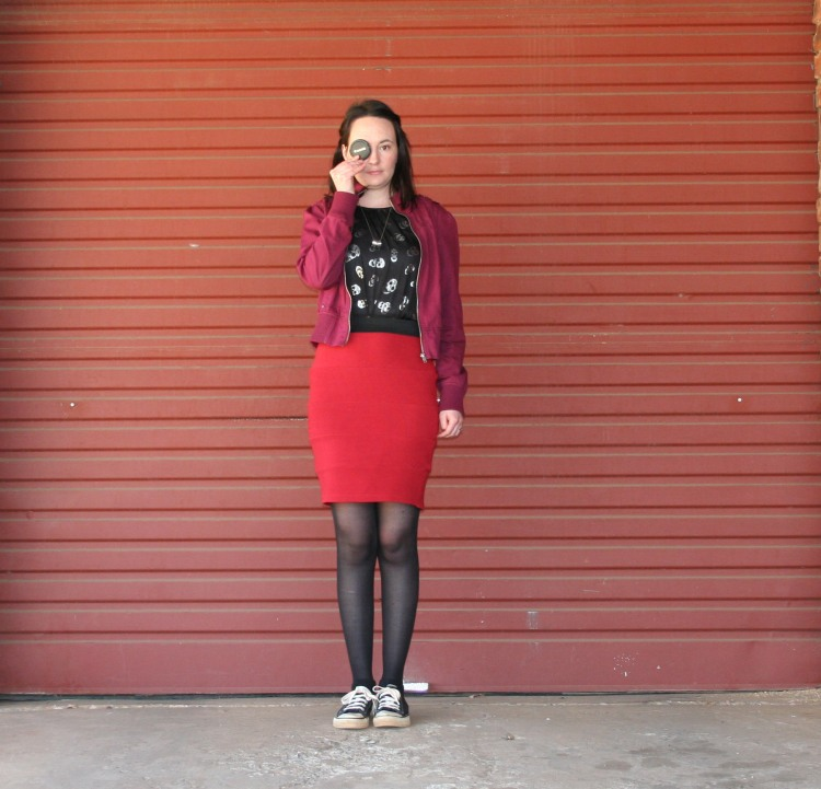 skulls, dress, red, skirt, magenta, jacket, converse