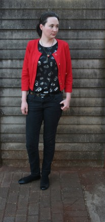 red. jacket,skulls, black, skinny jeans