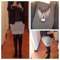 black blazer, aztec skirt, grey cowl neck