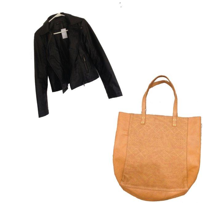 black moto jacket, tote bag