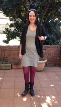 black blazer, grey shift dress, magenta tights
