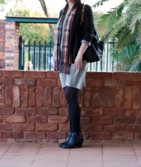 black blazer, grey shift dress, plaid scarf