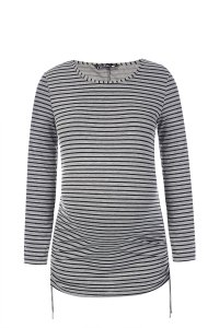 Grey and black stripe long sleeve maternity top