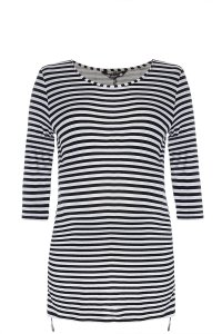 Navy and cream striped maternity top