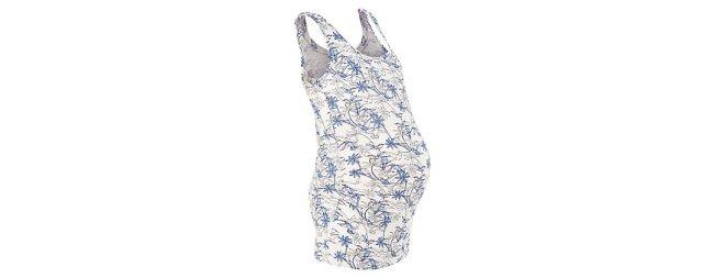 Maternity Cream Bird Floral Print Vest