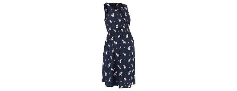 Maternity Navy Elephant Print Shirred Waist Dress