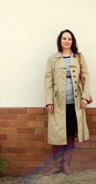 striped tee, trench coat, skinny jeans, brown boots