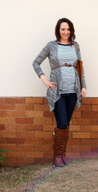 striped top, grey cardigan, skinny jeans, boots