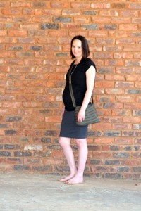 black tee and grey pencil skirt