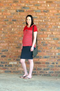 red and white striped tee, grey pencil skirt