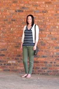 stripes tee and olive trousers