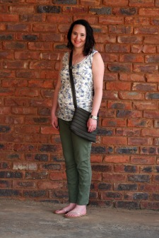 bird print and olive trousers