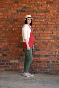 rust tank, ivory cardigan, olive ankle grazers