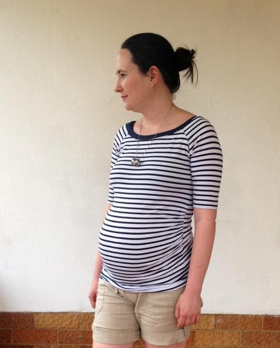 Striped top, cream shorts, maternity