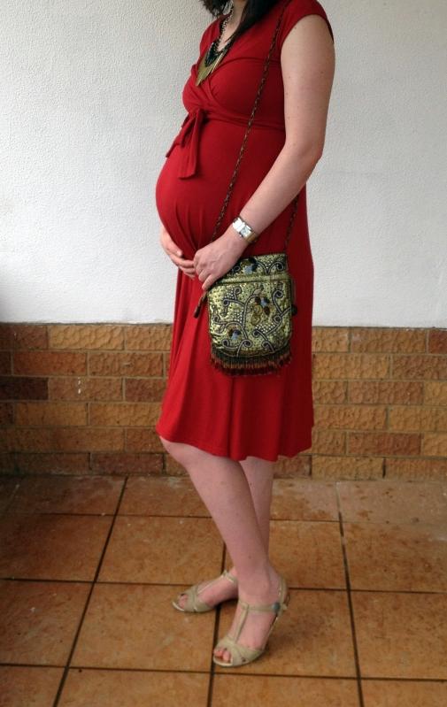 Red dress, maternity