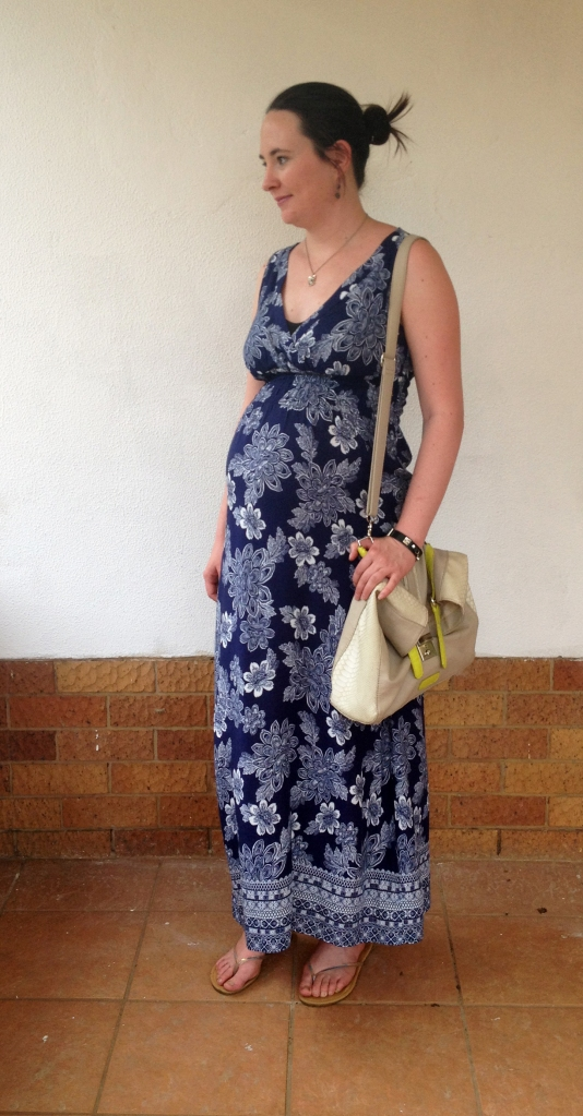 Blue floral maxi, maternity