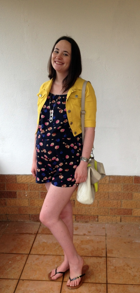 romper, yellow jacket, maternity