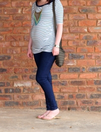 striped tee and fringe necklace