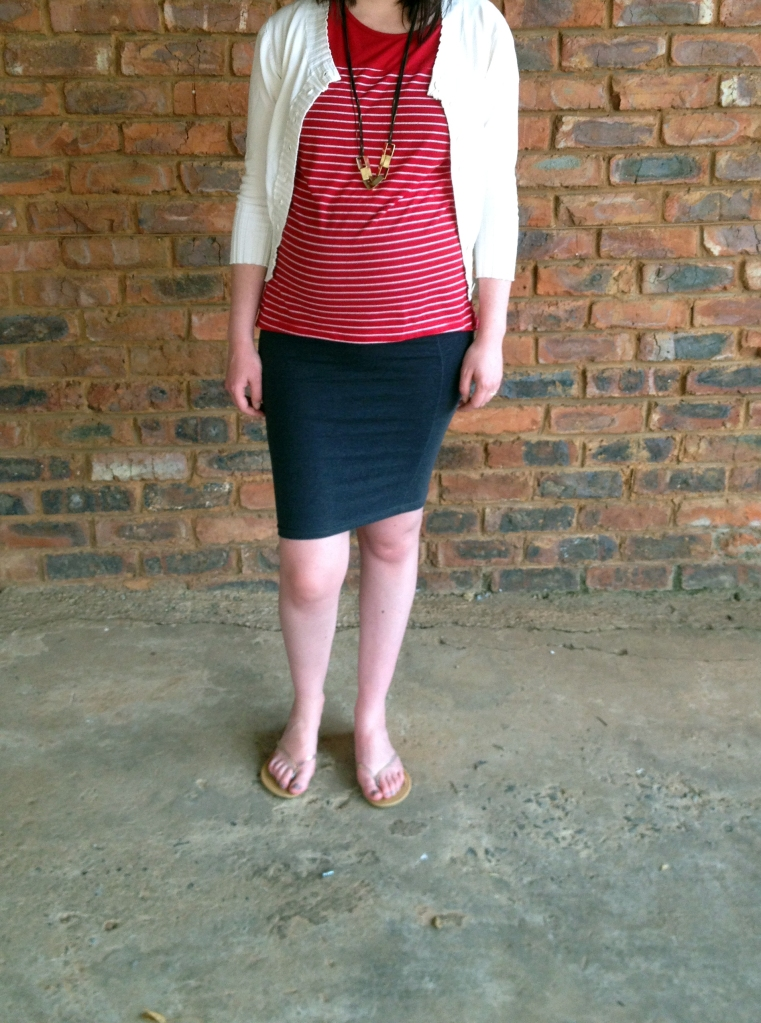ivory cardigan, red and white striped tee, grey skirt
