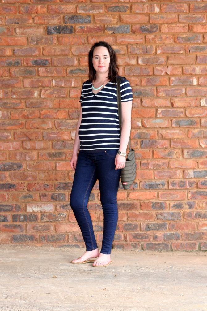 striped top, skinny jeans, maternity