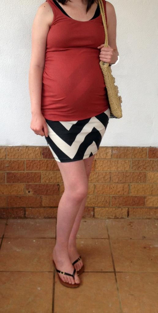Burnt orange tank, chevron skirt, maternity, outfit