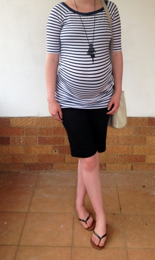 Striped tee, black dockside shorts, maternity outfit