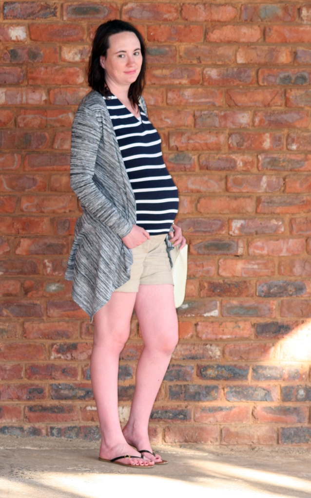striped tee, grey cardigan, shorts, maternity outfit
